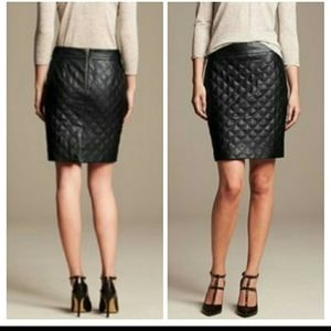 Banana Republic Quilted Faux Leather Skirt